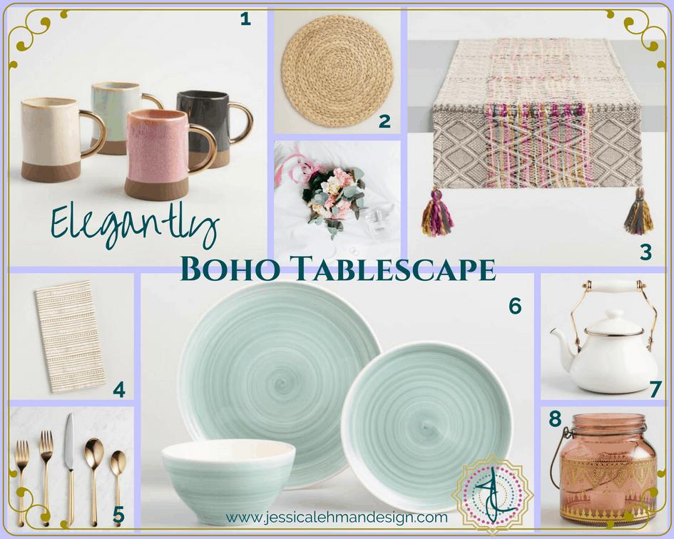 Elegantly boho tablescape moodboard
